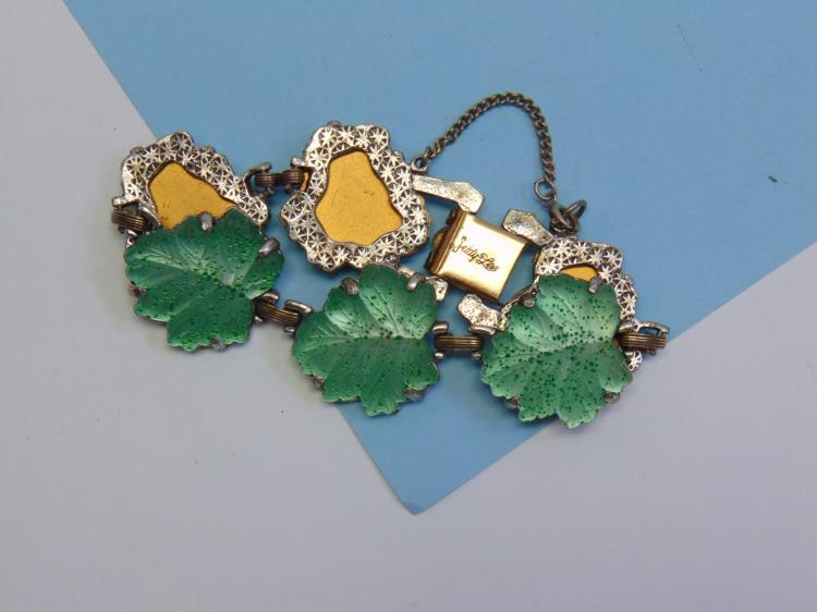 Vintage Judy Lee Glass Leaf Bracelet