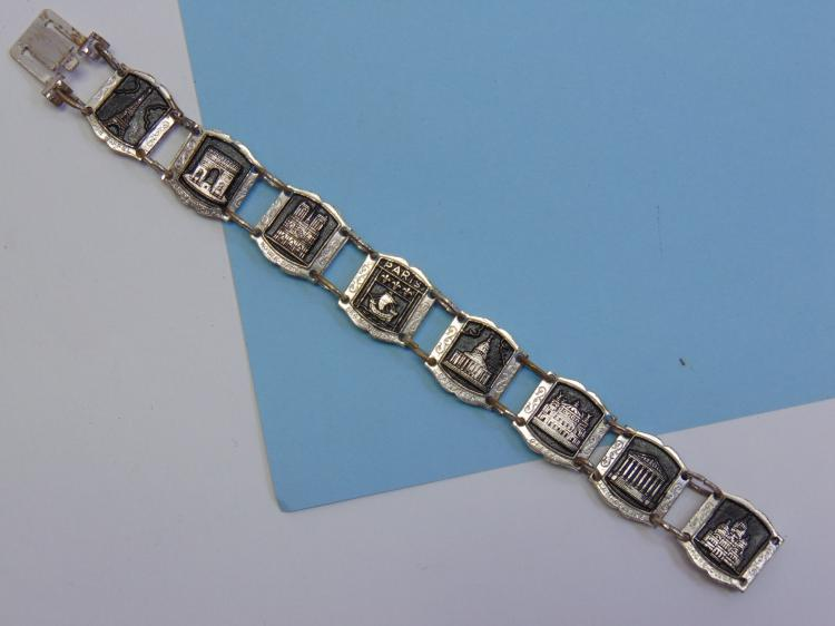 Lot 195: Vintage Costume Jewelry European Souviner Bracelet