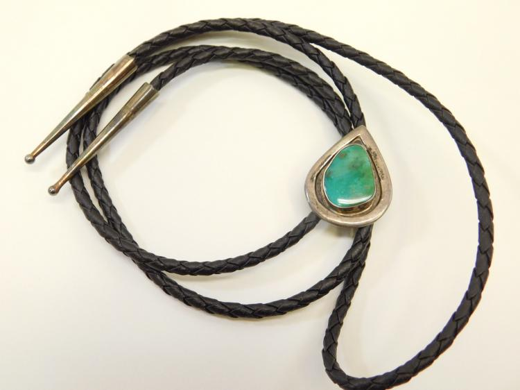 Vintage Old Pawn Navajo Sterling Silver Royston Mine Turquoise Bolo Tie