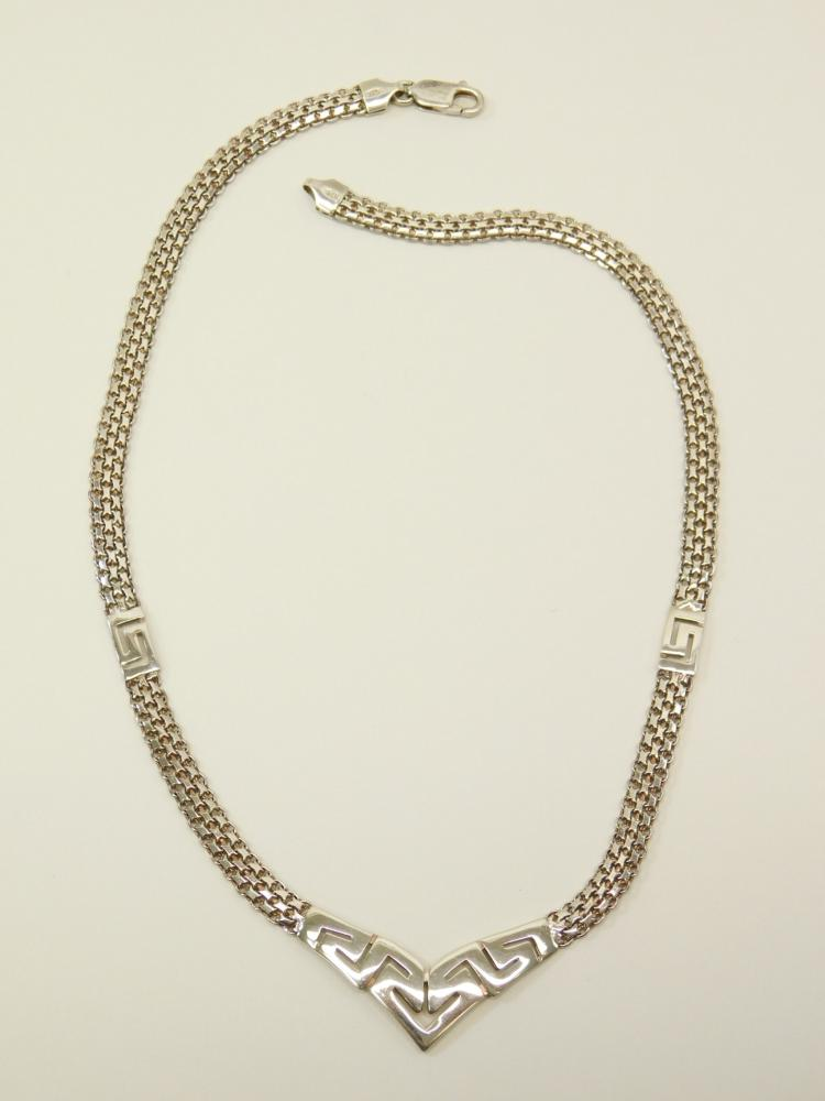 Sterling Silver Italian Incised Bib Style Fashion Choker V Necklace 17G