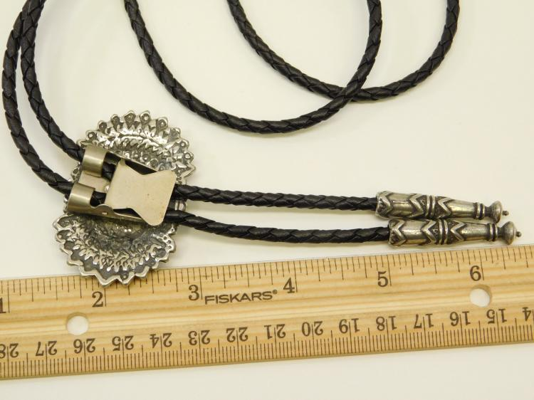 Lot 3: Vintage Mexico Or Navajo Sterling Silver Sand Cast Turquoise Chip Inlay Bolo Tie