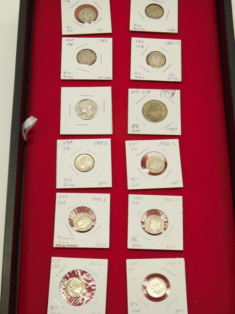 Lot Of 12 Us Mint Mercury Roosevelt Dimes And Washington Quarters Silver Coins