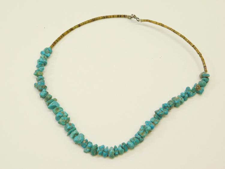 Vintage Navajo Sterling Silver Tortoise Shell And Turquoise Nugget Beaded Choker Necklace