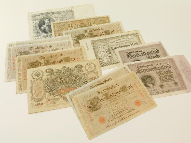 1910S & 20S German Foreign Paper Money Lot 1000 100000 + 1 Million Mark