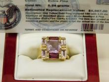Lot 13: 14 Karat Gold Amethyst And Pink Tourmaline Extra Fine Fashion Ring Size 7.5