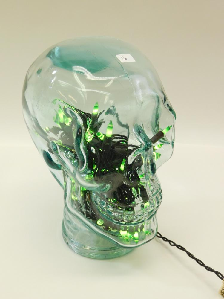 10 Inch Large Glass Green Lighted Skull Jar Container Lamp