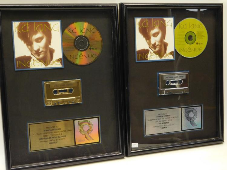 2 Riaa Certified Sales Platinum Gold Cassette & Cd Kd Lang Sales Awards Presented To Roberta Peterson