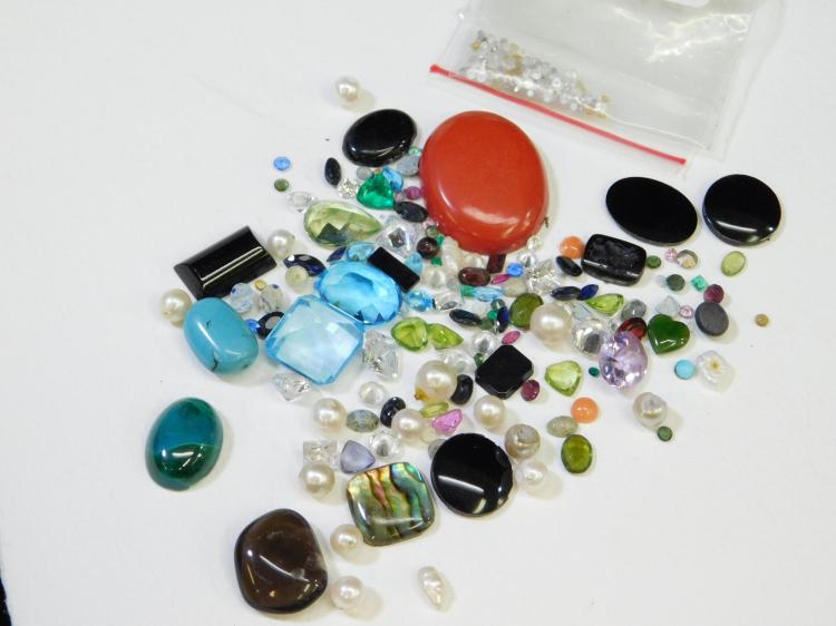 240 Ct Lot Of Mixed Semi-Precious Small And Large Gemstones Removed From Gold And Silver Jewelry