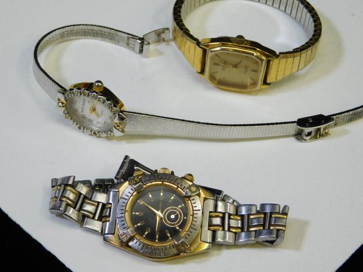 Lot Of 3 Vintage Ladies Wrist Watches Guess Harve Benard And Lucien Piccard