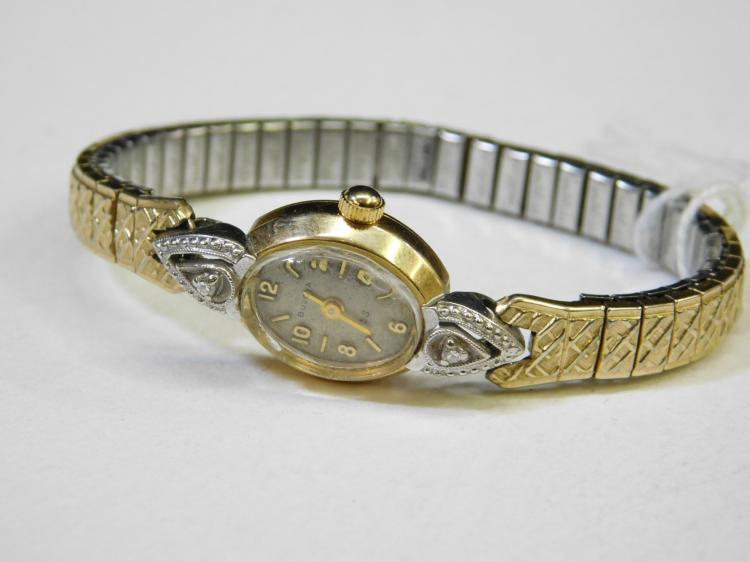 Vintage 14 Karat Gold And Diamond Ladies Bulova Wrist Watch