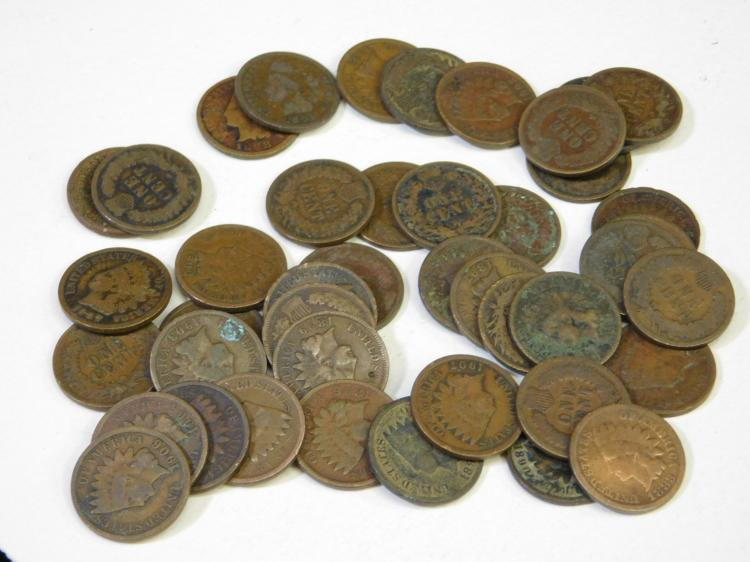 Vintage Lot Of 43 Indian Head Us Mint One Cent  Coins
