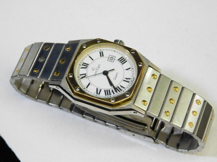 Vintage Lord Elgin Swiss-Made Roman Numeral Face Two Tone Quartz Calendar Wrist Watch