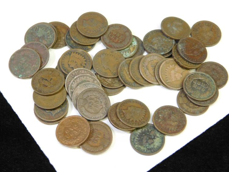 Vintage Lot Of 48 Indian Head Us Mint One Cent  Coins