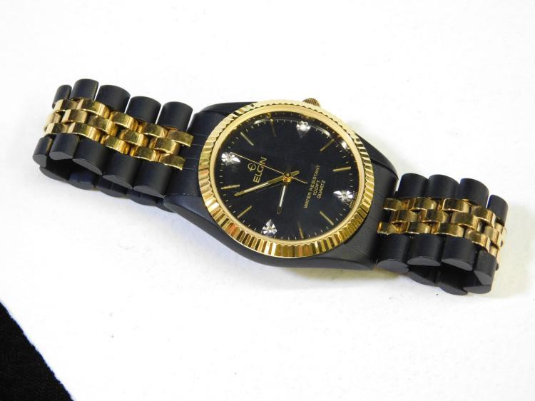 Vintage Elgin Black And Gold Diamond Water Resistant Unused Wristwatch