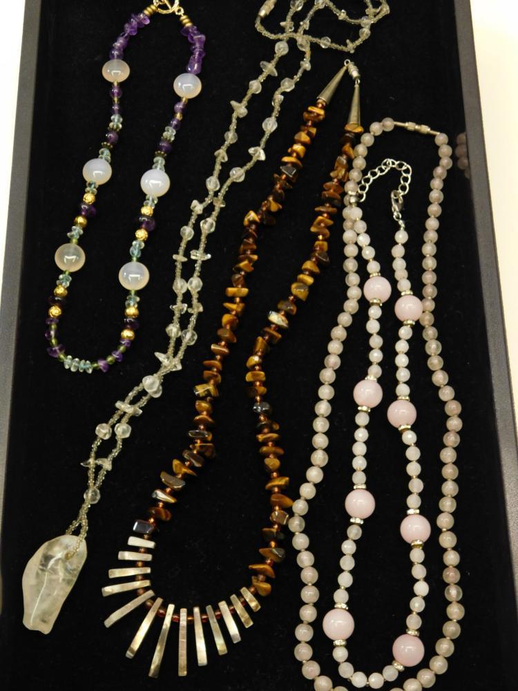 Lot Of 5 Semi Precious Beaded Stone Necklaces Including Navajo Rose Quartz Amethyst