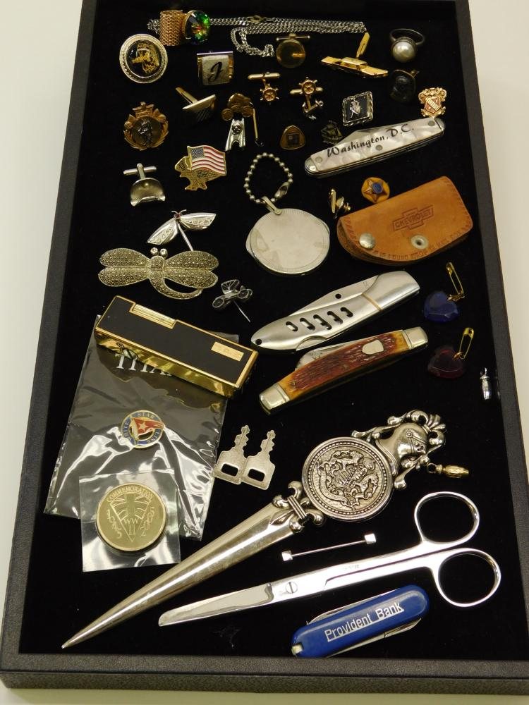 Huge Mixed Lot Pocket Knives Lighters Single Cufflinks Scissors Tokens Employee Pins And More