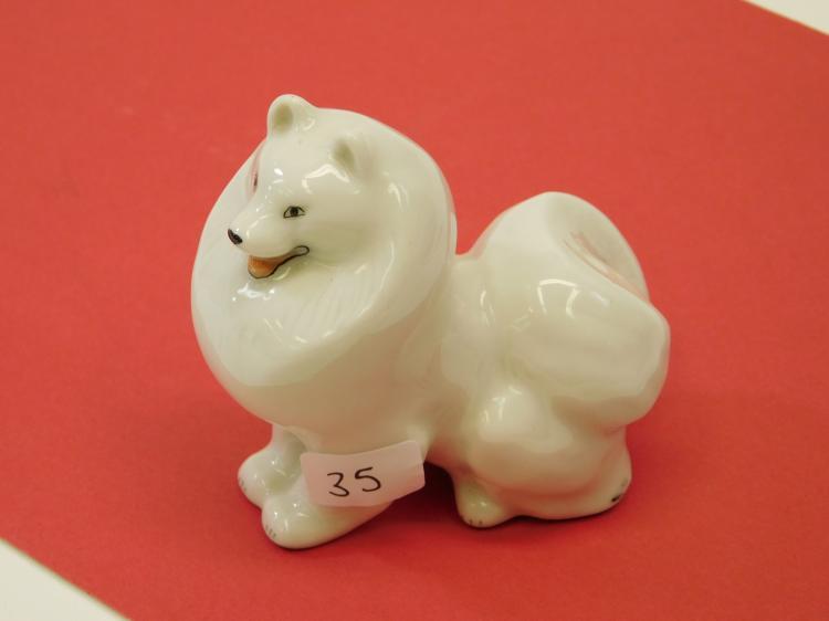 Lomonosov Ussr Husky Hand-Painted Porcelain Figurine