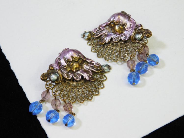 Vintage Brass Costume Jewelry Art Deco Art Nouveau Clip-On Earrings