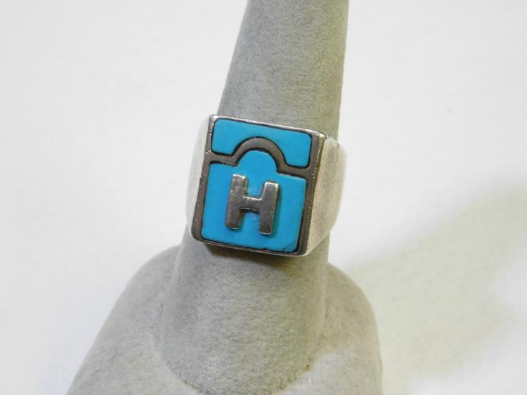 Vintage Handmade Sterling Silver Inlaid Turquoise Initial H Ring Size 8
