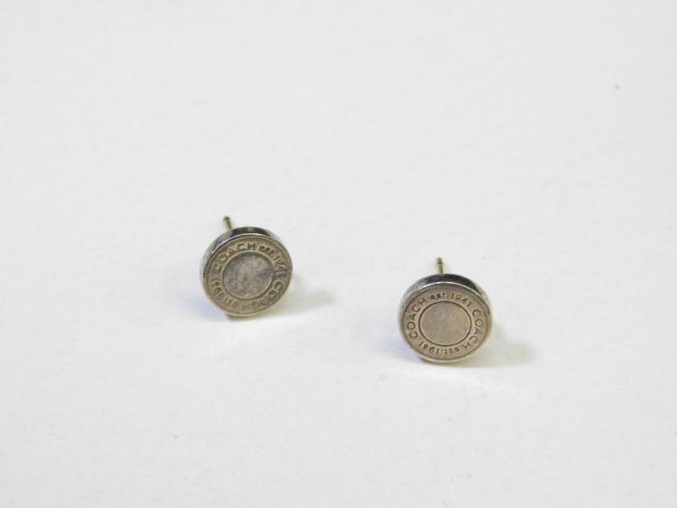 Modern Sterling Silver Coach Post Earrings