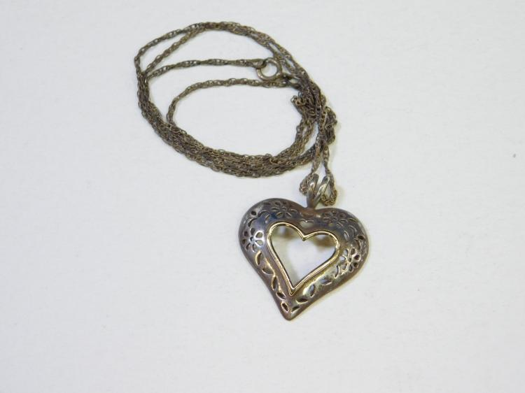 Modern Sterling Silver Incised Heart Pendant With 10 Karat Gold Rim Necklace
