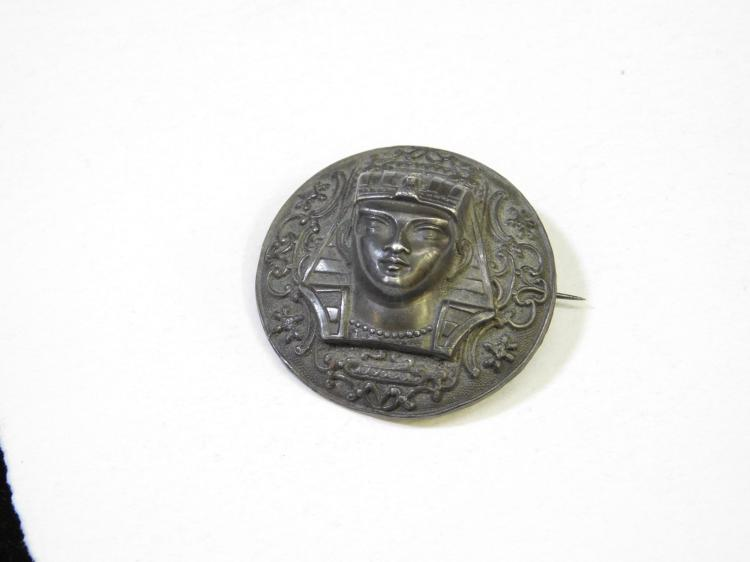 Vintage Egyptian Revival Costume Jewelry Silver-Plated Brass Egyptian Head Brooch