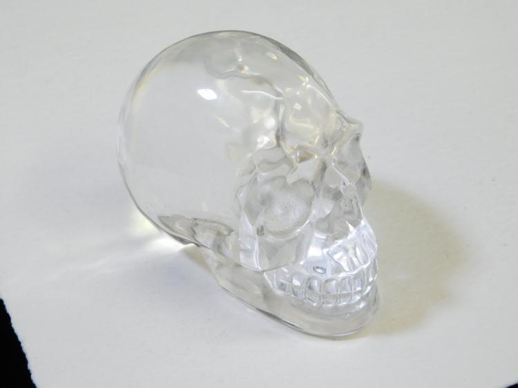 Vintage Carved Clear Quartz Crystal Skeleton Skull Carving
