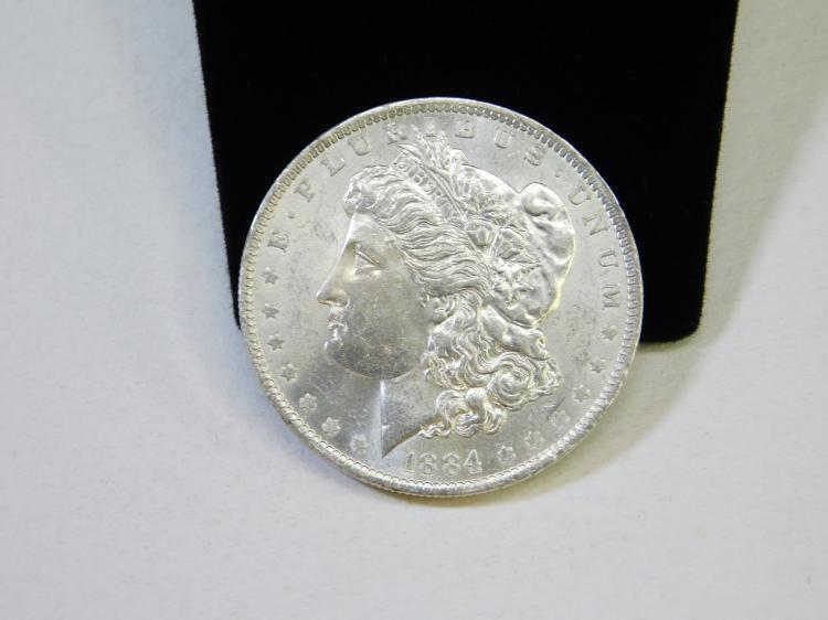 1884 Uncirculated Us Mint Morgan $1 One Dollar Silver Coin