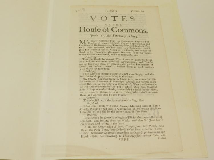 1693 House Of Commons Original 1694 Page 233 And 234 Printed By John Leake Sold By Randall Taylor London