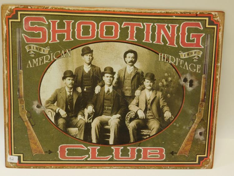 Modern Metal 16 X 12 Shooting Club Since 1908 American Heritage Sign