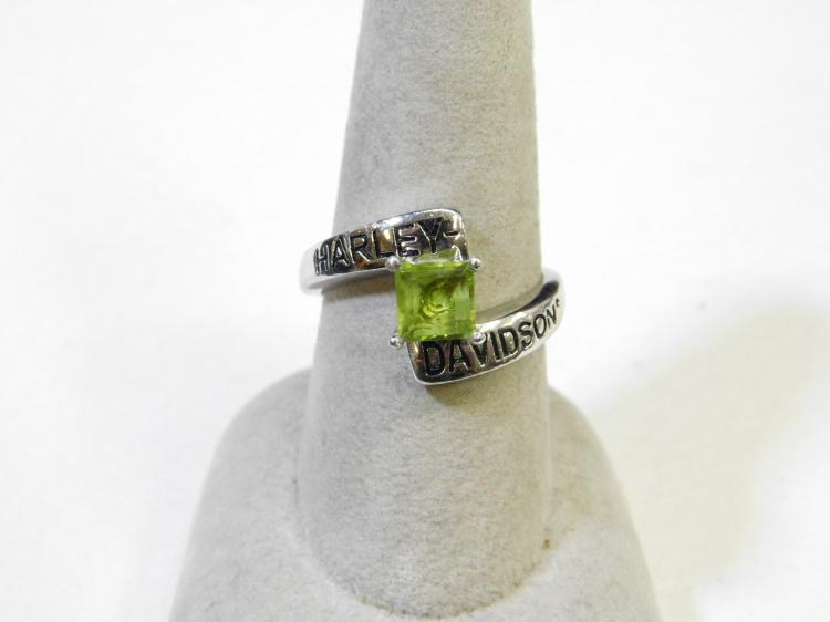 2008 Franklin Mint Harley-Davidson Sterling Silver Peridot Ring Size 8.25