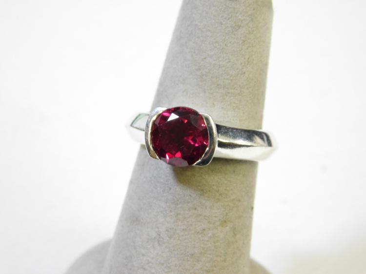 Modern Sterling Silver Simulated Ruby Ring Size 6.5