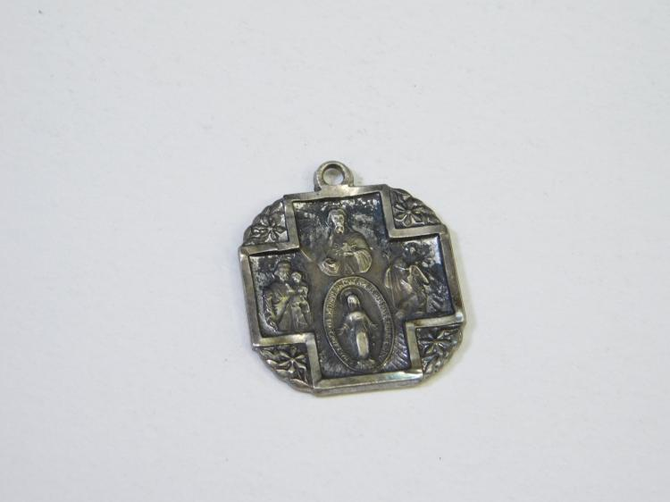 Antique Grenci Sterling Silver Religious Icon Pendant