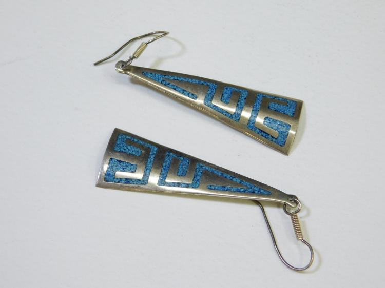Vintage Mexico Sterling Silver Turquoise Chip Inlay Dangle Earrings