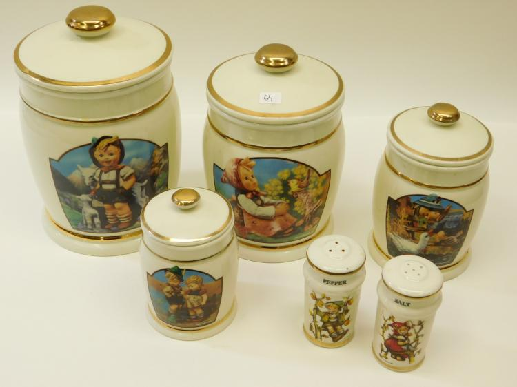1993 Mj Hummel Canister Collection With Salt And Pepper Shakers