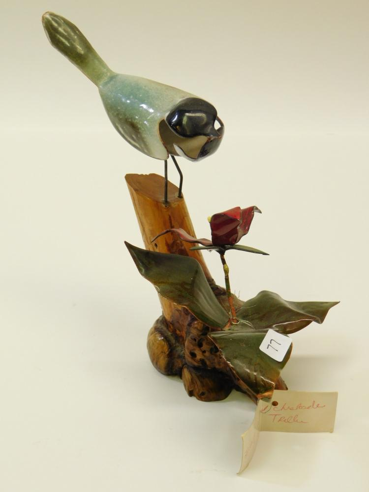 Handmade Enamel On Copper Black-Capped Chickadee And Red Trillee Burl Wood Sculpture