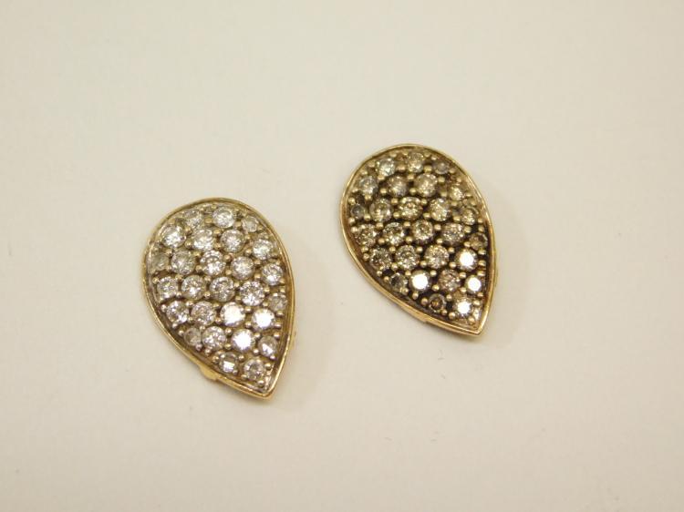 Lot Of 2 14 Karat Gold Set Diamond Cluster Snakehead Decorations 4 Reuse 1.7G