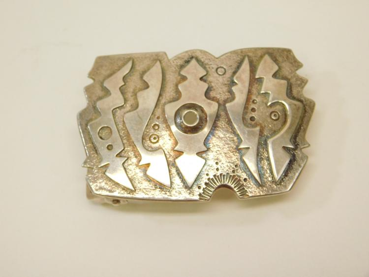 Vintage Mexican Sterling Silver Art Deco Face Design Belt Buckle 33.4G