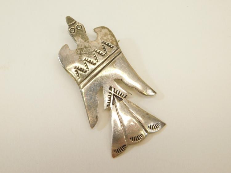 Vintage Navajo Paula Armstrong Sterling Silver Peyote Bird Pendant Brooch Signed Hije