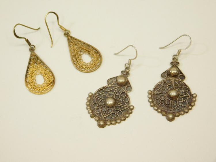 Vintage Lot Of Two Pair Sterling Silver Filigree Handmade Dangle Earrings 7.2G