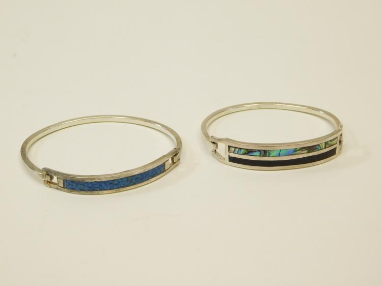 Lot Of 2 Vintage Mexico Silver Plated Jet Abalone Faux Lapis Inlaid Bracelets