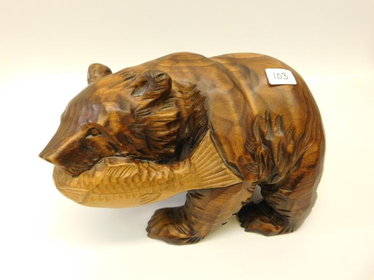 Hand-Carved Wooden Bear Figurine With Carved Fish