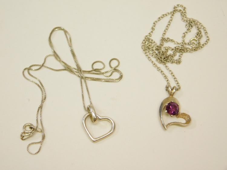 Lot Of 2 Modern Sterling Silver Amethyst Heart Pendant Necklaces
