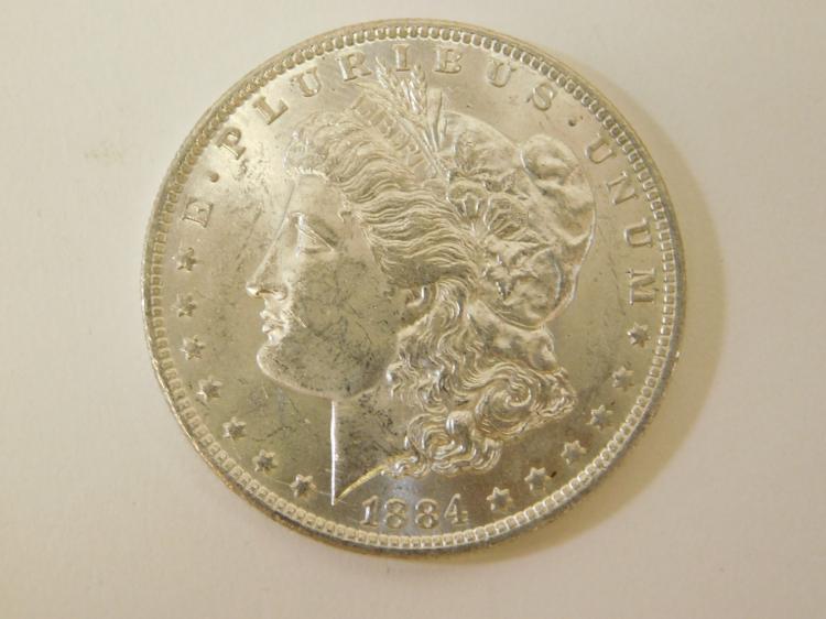 1884 O Bu Bright Uncirculated Us Mint Morgan Silver Dollar