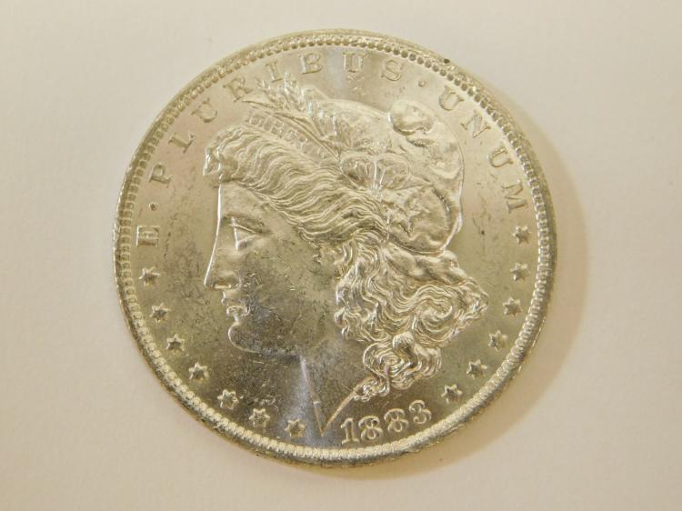 1883 O Bu Bright Uncirculated U.S. Mint Morgan Silver Dollar