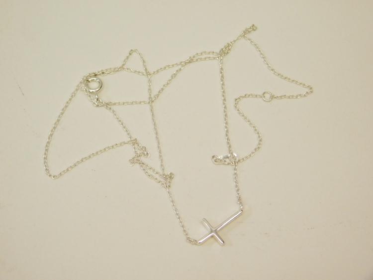Modern Sterling Silver Sideways Cross Pendant Fashion Necklace