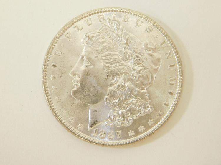 1887 Us Mint Bu Bright Uncirculated Morgan Silver Dollar