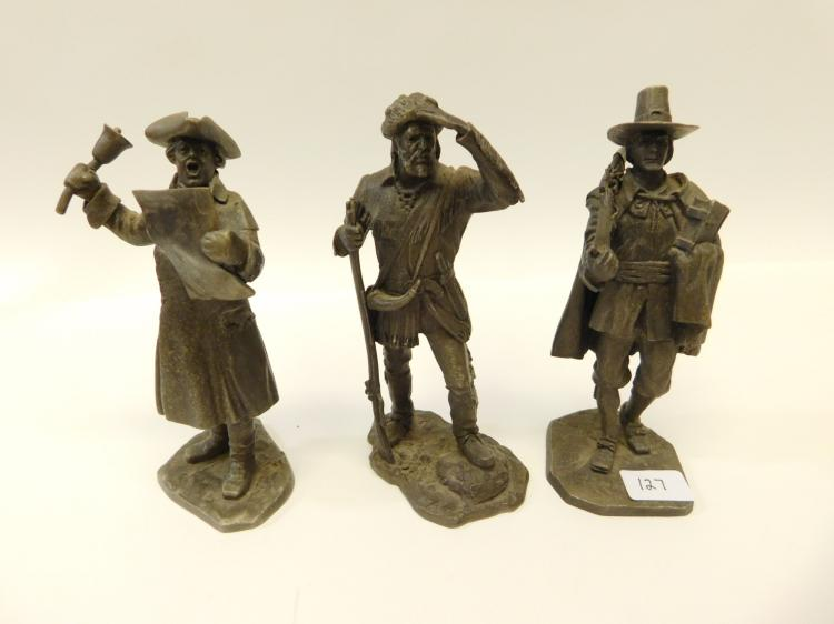 Vintage Lot Of 3 American Sculpture Society Find Pewter The Pilgrim Frontiersman And Town Crier Figurines