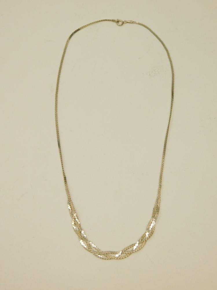 Vintage Sterling Silver Braided Herringbone Fashion Necklace