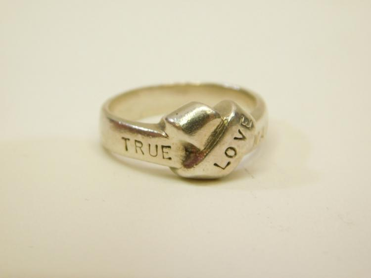 Modern Sterling Silver Knot Ring That Says True Love Waits Size 7